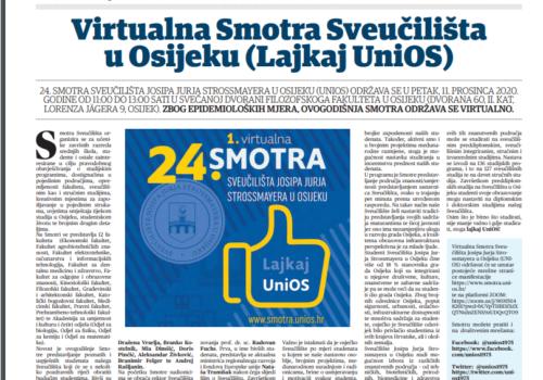 Virtualna Smotra Sveučilišta u Osijeku (Sveučilišni glasnik), 11. prosinca 2020.