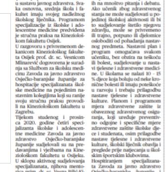 Kineziološki fakultet i suradnja školske medicine (Sveučilišni glasnik), 22.01.2021.