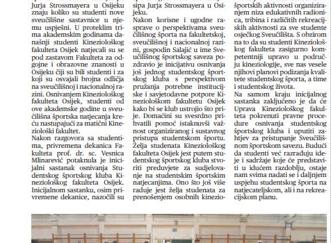 Osnivanje Studentskog sportskog kluba KIFOS (Studentski glasnik), 20. studeni 2020.