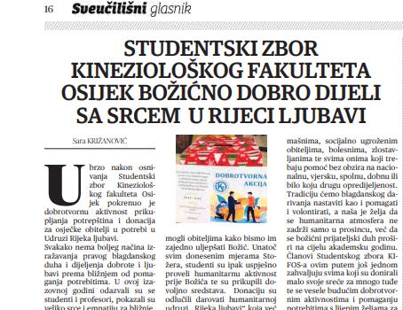 Studentski zbor Kineziološkog fakulteta Osijek Božićno dobro dijeli sa srcem u Rijeci ljubavi  (Sveučilišni glasnik), 22.siječanj 2021.